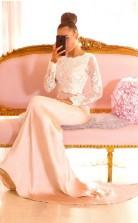 Elegante Spitze Meerjungfrau Brautjungfernkleider Juwel Lange Ärmel Abendkleider GD01772