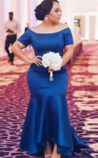 Elegante Schulterfreie Meerjungfrau-brautjungfernkleider Königsblau Kurze Ärmel Abendkleider GD02282