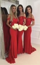 Rote Schulterfreie Brautjungfernkleider Reißverschluss Hinten Lange Partykleider Aus Spitze GG00032