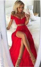 Sexy V-ausschnitt Rubinrot Zweiteiliges Langes Ballkleid Mit Geteilter Vorderseite JT2PDE006