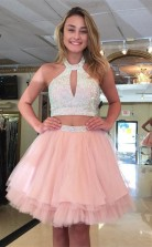 Kurze Perlen Rosa Mädchen 2 Stück Abschluss Süß 16 Kleid JT2PDE020