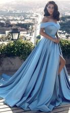 Himmelblaue Charmeuse Von Der Schulter A-line Langes Prominenten Kleid (GJT3698)