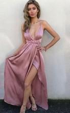 Nude Pink Satin Chiffon Neckholder V-ausschnitt A-linie Bodenlanges Sex Ballkleid (GJT3724)