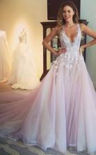 Erröten Rosa Spitze Tüll V-ausschnitt Prinzessin Gericht Zug Sex Prom Kleid (GJT3740)