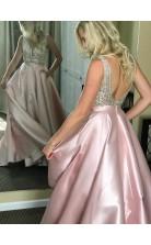 Errötendes Rosa Stretch-satin-v-ausschnitt Prinzessin Langes Sex-abschlussballkleid (GJT3743)