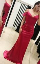 Rote Charmeuse Von Der Schulter Kurzarm Trompete / Meerjungfrau Langes Prominenten Kleid (GJT3756)