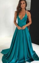 Türkisfarbenes Charmeuse V-ausschnitt A-line Langes Sex Prom Kleid (GJT3783)