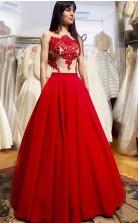 Rotes Satin A-line Illusion Bodenlanges Abendkleid (GJT3806)