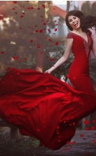 Rotes Spandex Trompete / Meerjungfrau V-ausschnitt Kurzarm Bodenlanges Abendkleid (GJT3807)