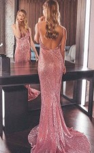 Rosa Pailletten Trompete / Meerjungfrau V-ausschnitt Sweep Zug Sex Prom Kleid (GJT3834)