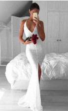 Weiße Spitze Trompete / Meerjungfrau V-ausschnitt Sweep Zug Sex Prom Kleid (GJT3835)