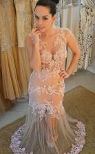 Champagner Spitzentrompete / Meerjungfrau V-ausschnitt Sweep Train Sex Prom Kleid (GJT3848)
