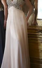 Bodenlange Abendkleider Aus Elfenbeinfarbenem Chiffon Mit A-linie Und V-ausschnitt (GJT3887)