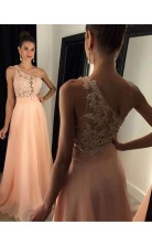 Perlrosa Chiffon A-linie Bodenlange Abendkleider Mit Einer Schulter (GJT3905)