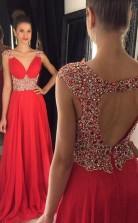 Bodenlange Abendkleider Mit Rotem Chiffon-a-linien-v-ausschnitt Und Kurzen Ärmeln (GJT3960)