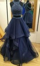 A-linie Halfter Tüll Mit Perlen Bodenlangen Zweiteiligen Kleid JTC10113