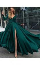 A-linie V-ausschnitt Lange Ärmel Bodenlang Mit Rüschen Satin Chiffon Kleid JTC10213