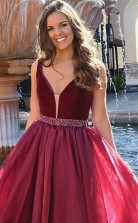 A-linie V-ausschnitt Bodenlang Mit Perlen Organza Kleid JTC10633