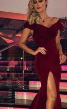 Meerjungfrau V-ausschnitt Kurze Ärmel Zug Samt Kleid JTC11763