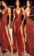Scheide V-ausschnitt Zug Pailletten Kleid JTC16613