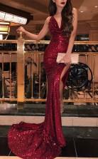 Meerjungfrau V-ausschnitt Zug Mit Rüschen Pailletten Kleid JTC18463