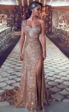 Scheide One-shoulder-zug Mit Perlen Pailletten Kleid JTC18553