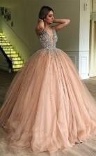 Ballkleid V-ausschnitt Bodenlang Mit Perlen Tüll Kleid JTC18923