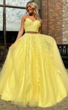 A-lineprincess Tüllapplikation Bodenlanges Zweiteiliges Kleid Mit V-ausschnitt JTC25503