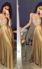 A-linie Taftschaufel Lange Ärmel Bodenlang Mit Applikation Zweiteiliges Kleid JTC3673