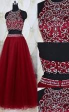 A-linie Tüll Juwel Bodenlang Mit Perlen Zweiteiliges Kleid JTC3723