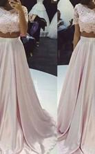 A-linie Taftschaufel Bodenlang Mit Spitze Zweiteiliges Kleid JTC3773