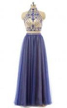 A-linie Chiffon High Neck Bodenlang Mit Perlen Zweiteiliges Kleid JTC3903