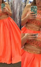 A-linie Satin High Neck Bodenlang Mit Perlen Zweiteiliges Kleid JTC3943
