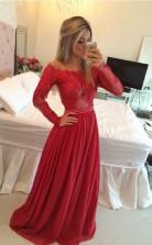 A-line Schulterfreier Chiffon-langarmzug Mit Appliziertem Kleid JTC4643