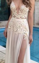 A-linie Chiffon V-ausschnitt Bodenlang Mit Applikation Kleid JTC5433