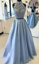 Ballkleid Satin High Neck Bodenlang Mit Applikation Zweiteiliges Kleid JTC5453
