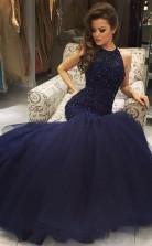 Meerjungfrau Tüll Juwel Bodenlang Mit Perlen Kleid JTC5493