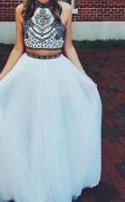 A-linie Netzhalfter Bodenlang Mit Perlen Zweiteiliges Kleid JTC5633