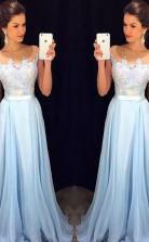 A-line Chiffon Transparenter Halszug Mit Appliziertem Kleid JTC713