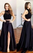A-line Neckholder Satin Mit Perlenzug Zweiteiliges Kleid JTC8883