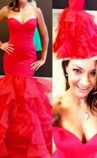 Meerjungfrau Schatz Organza Mit Schichten Bodenlanges Kleid JTC8973
