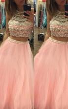 A-linie Halfter Tüll Bodenlang Mit Perlen Zweiteiliges Kleid JTC9273