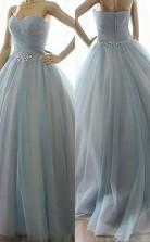Ballkleid Schatz Mit Perlen Bodenlangen Tüll Kleid JTC9343