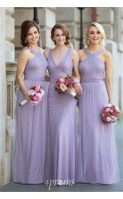 Neckholder Tüll Lange Lavendelfarbene Geraffte Elegante Brautjungfernkleider LV1962