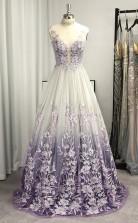 A-lineprincess V-ausschnitt Applique Bodenlanges Kleid Mh04323