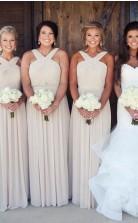 Chiffon Neckholder Brautjungfernkleider Sommer Lange Hochzeitskleider PD00152