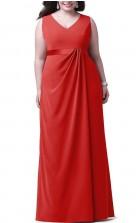 Rote Lange Brautjungfern- / Partykleider Mit V-ausschnitt PPBD014