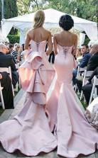 Elegantes Langes Rosa Meerjungfrau Schatz Schnüren Brautjungfernkleid QH0942