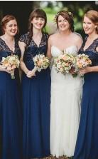 Romantische Spitze Chiffon Marineblau Lange Brautjungfernkleider QH1182