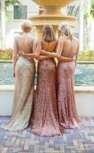Einfache Meerjungfrau Pailletten Partykleider Verschiedene Stile Rüschen Brautjungfernkleid QQ02102